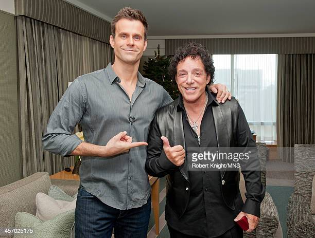Cameron Mathison and Neal Schon prepare for the wedding of Michaele Schon and Neal Schon at the Four Seasons Hotel on December 15 2013 in San...