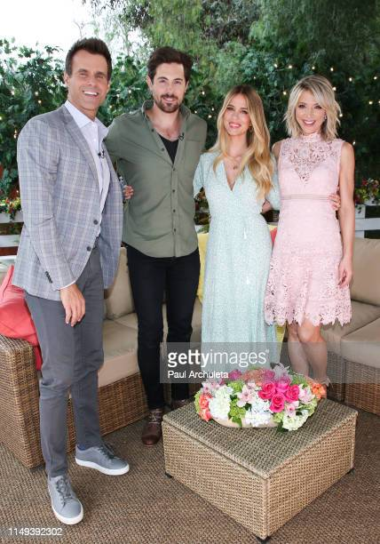 Cameron Mathison Chris McNally Leah Renee and Debbie Matenopoulos on the set of Hallmark's Home Family at Universal Studios Hollywood on May 15 2019...