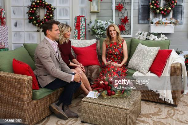 Cameron Mathison Debbie Matenopoulos and Julie Hagerty on the set of Hallmark's 'Home Family' at Universal Studios Hollywood on November 16 2018 in...