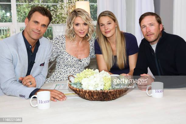 Cameron Mathison Debbie Matenopoulos Morgan Beck and Bode Miller on the set of Hallmark's Home Family at Universal Studios Hollywood on July 30 2019...