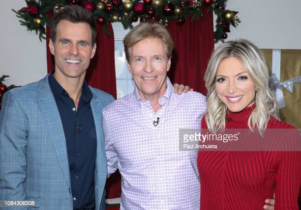Cameron Mathison Jack Wagner and Debbie Matenopoulos on the set of Hallmark's 'Home Family' at Universal Studios Hollywood on December 18 2018 in...