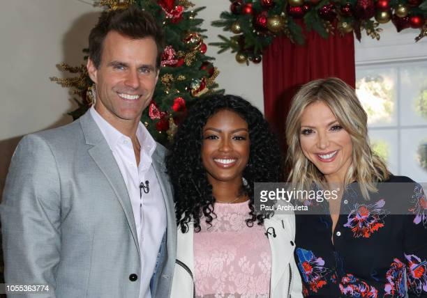 Cameron Mathison Javicia Leslie and Debbie Matenopoulos on the set of Hallmark's Home Familyat Universal Studios Hollywood on October 29 2018 in...