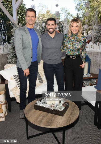 Cameron Mathison Jesse Metcalfe and Debbie Matenopoulos on the set of Hallmark Channel's Home Family at Universal Studios Hollywood on January 08...