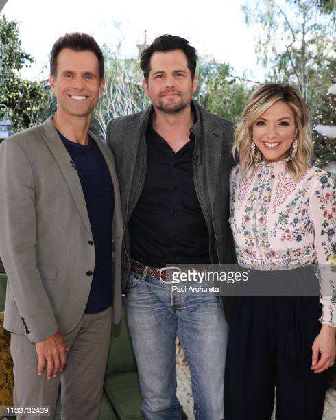 Cameron Mathison Kristoffer Polaha and Debbie Matenopoulos on the set of Hallmark's Home Family at Universal Studios Hollywood on March 04 2019 in...