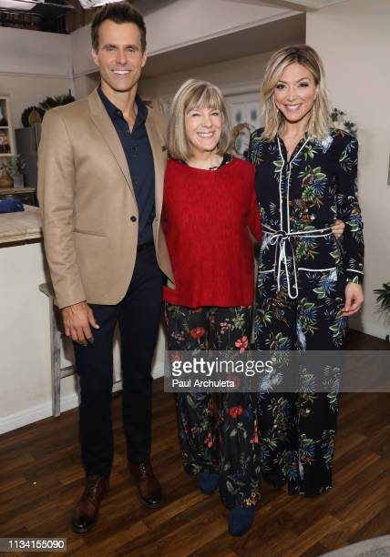 """Cameron Mathison, Mimi Kennedy Debbie Matenopoulos on the set of Hallmark's """"Home & Family"""" at Universal Studios Hollywood on March 06, 2019 in..."""