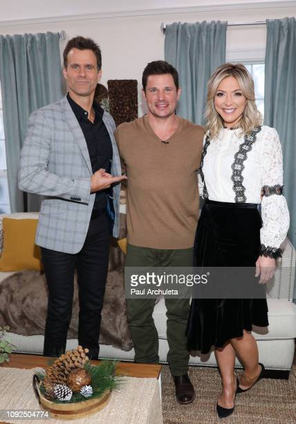 Cameron Mathison Nick Lachey and Debbie Matenopoulos on the set of Hallmark's 'Home Family' at Universal Studios Hollywood on January 10 2019 in...