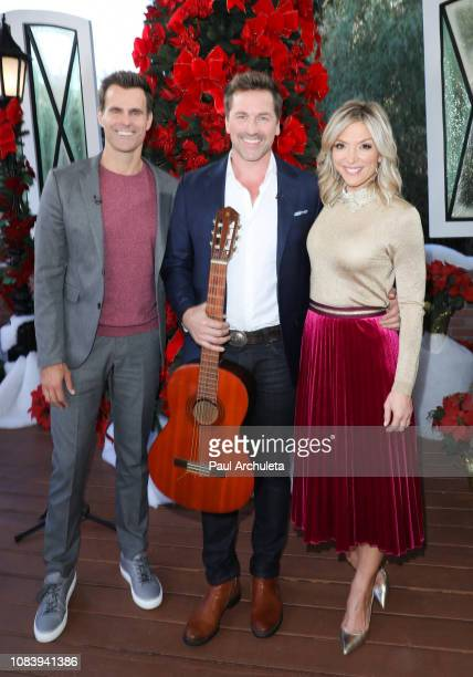Cameron Mathison Paul Greene and Debbie Matenopoulos on the set of Hallmark's 'Home Family' at Universal Studios Hollywood on December 17 2018 in...