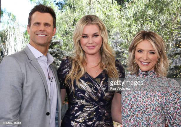 Cameron Mathison Rebecca Romijn and Debbie Matenopoulos on the set of Hallmark Channel's Home Family at Universal Studios Hollywood on February 11...