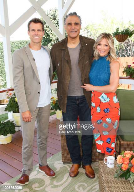 """Cameron Mathison, Rick Fox and Debbie Matenopoulos on the set of Hallmark's """"Home & Family"""" at Universal Studios Hollywood on September 4, 2018 in..."""