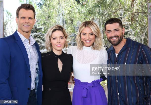 Cameron Mathison Sarah Lind Debbie Matenopoulos and Jesse Metcalfe on the set of Hallmark Channel's Home Family at Universal Studios Hollywood on...