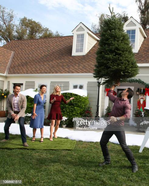 Cameron Mathison Scottie Thompson Debbie Matenopoulos and Ryan Paevey on the set of Hallmark's 'Home Family' at Universal Studios Hollywood on...