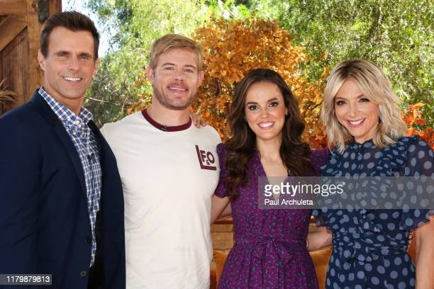 """Cameron Mathison, Trevor Donovan, Erin Cahill and Debbie Matenopoulos on the set of Hallmark Channel's """"Home & Family"""" at Universal Studios Hollywood..."""