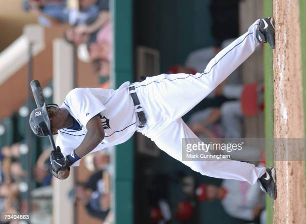 Cameron Maybin of the Detroit Tigers batting during the game against Florida Southern College at Joker Marchant Stadium in Lakeland Florida on...