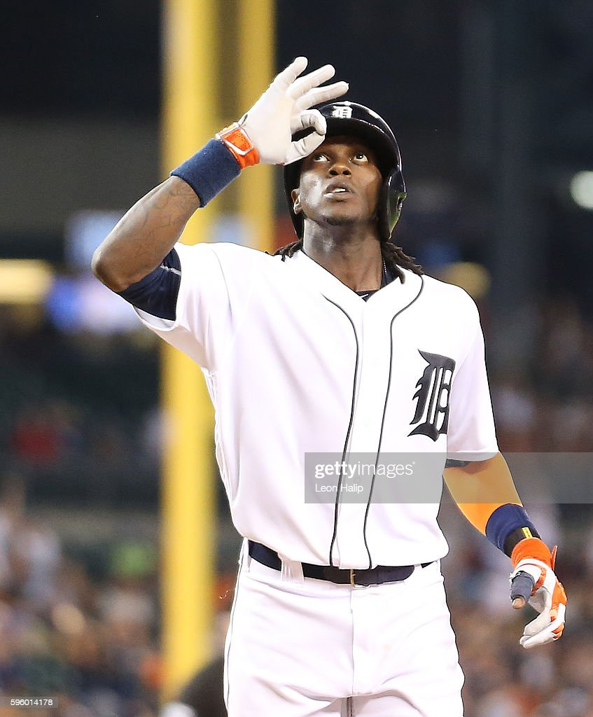 Cameron Maybin #4 of the Detroit Tigers celebrates after hitting a solo home run to right field in the seventh inning of the game against the Los Angeles Angels during the game on August 27, 2016 at Comerica Park in Detroit, Michigan.