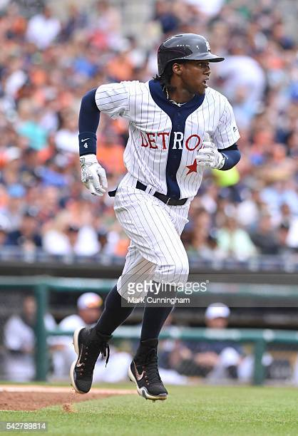 Cameron Maybin of the Detroit Tigers runs the bases while wearing a Detroit Stars Negro League Tribute uniform during the game against the Chicago...