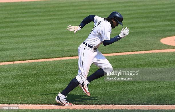 Cameron Maybin of the Detroit Tigers runs to first base during the game against the Philadelphia Phillies at Comerica Park on May 25 2016 in Detroit...