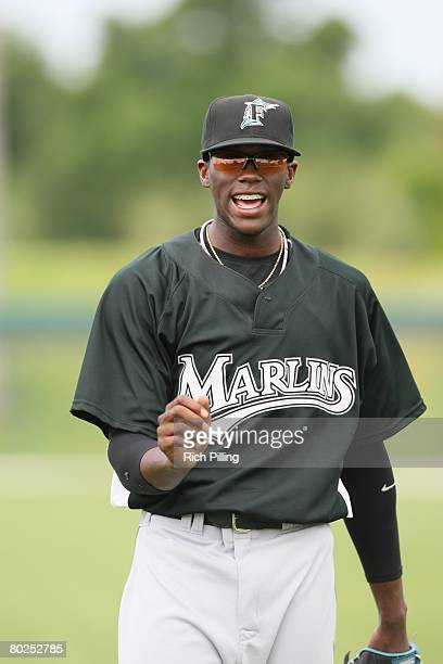 Cameron Maybin of the Florida Marlins prior to the game between the Florida Marlins and the Los Angeles Dodgers at Holman Stadium in Vero Beach...