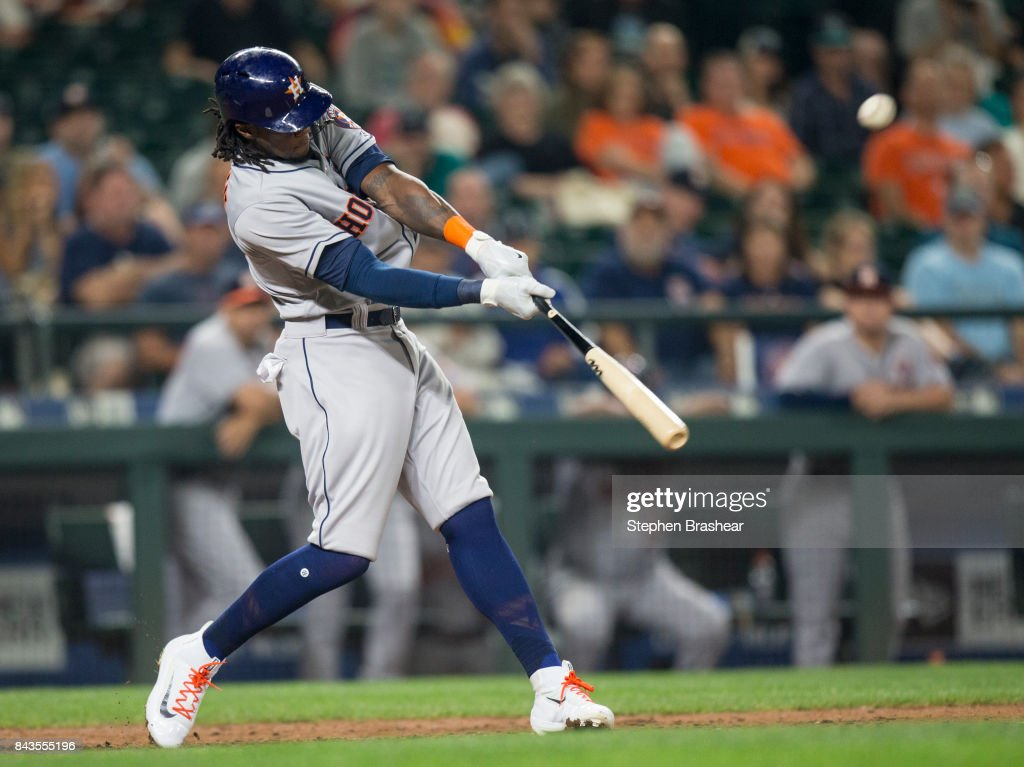 Cameron Maybin #3 of the Houston Astros hits a two-run home run off of relief pitcher Edwin Diaz #39 of the Seattle Mariners that also scored Jake Marisnick #6 of the Houston Astros during the ninth inning of a game at Safeco Field on September 6, 2017 in Seattle, Washington. The Astros won the game 5-3.