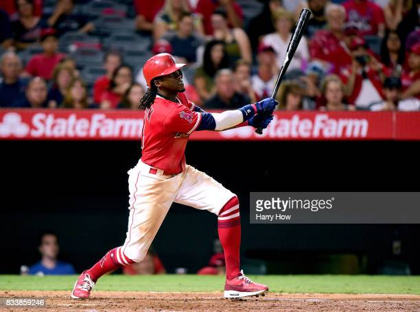 Cameron Maybin of the Los Angeles Angels at bat during the game against the Tampa Bay Rays at Angel Stadium of Anaheim on July 14 2017 in Anaheim...