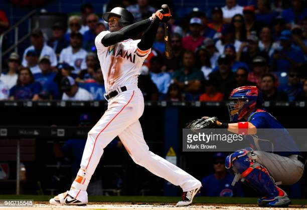 Cameron Maybin of the Miami Marlins bats in the third inning against the Chicago Cubs at Marlins Park on April 1 2018 in Miami Florida