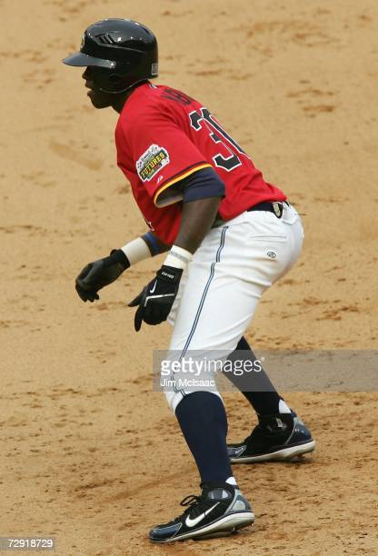 Cameron Maybin of the U.S.A. Team leads off first base during the XM Satellite Radio All-Star Futures Game against the World Team at PNC Park on July...