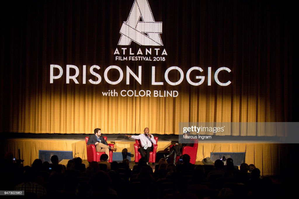 Cameron McAllister, Romany Malco and Regina Hall on stage during the 42nd Annual Atlanta Film Festival 'Prison Logic' screening at Plaza Theater on April 16, 2018 in Atlanta, Georgia.