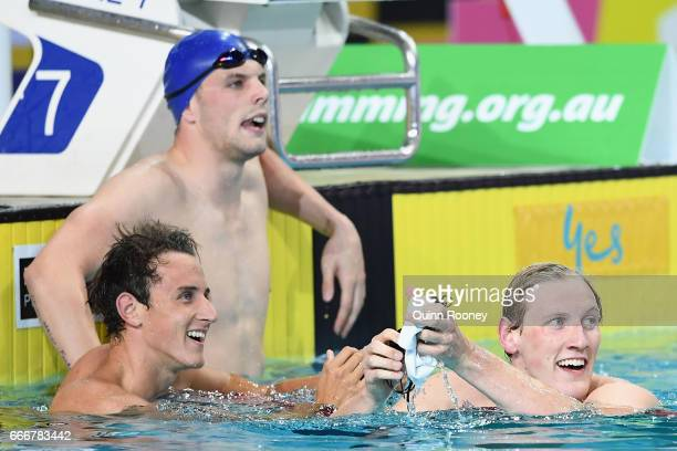 Cameron McEvoy Kyle Chalmers and Mack Horton of Australia catch their breath after competing in the Men's 200m Freestyle during the 2017 Australian...