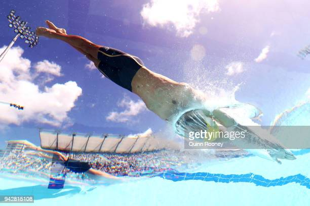 Cameron McEvoy of Australia competes during the Men's 100m Freestyle Heat 7 on day three of the Gold Coast 2018 Commonwealth Games at Optus Aquatic...