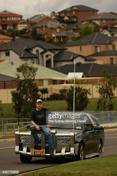 Cameron McKenzie with his 1997 VS Holden ute in the Sydney suburb of Bella Vista 9 November 2006 SMH Picture by STEVEN SIEWERT