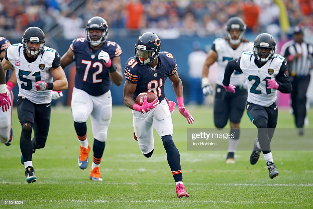 Cameron Meredith #81 of the Chicago Bears runs downfield with a 36-yard reception in the third quarter of the game against the Jacksonville Jaguars at Soldier Field on October 16, 2016 in Chicago, Illinois. The Jaguars defeated the Bears 17-16.