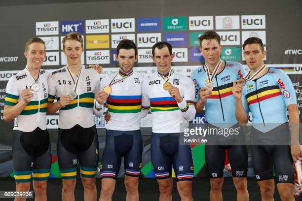 Cameron Meyer and Callum Scotson of Australia Benjamin Thomas and Morgan Kneisky of France and Kenny de Ketele and Morenoposes de Pauw of Belgium...