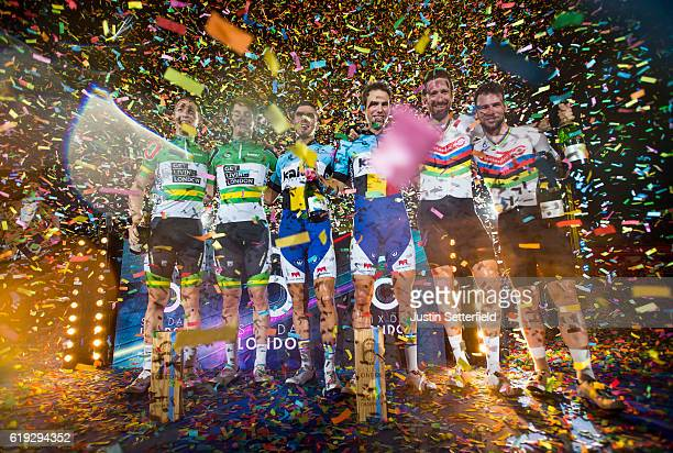 Cameron Meyer and Callum Scotson of Australia Kenny de Ketele and Moreno de Pauw of Belgium and Mark Cavendish and Bradley Wiggins of Great Britain...