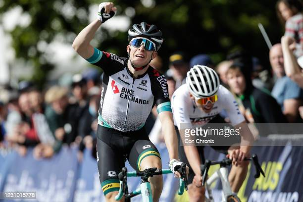 Cameron Meyer celebrates during the Road Race as part of the Road National Championships on February 7, 2021 in Ballarat, Australia.