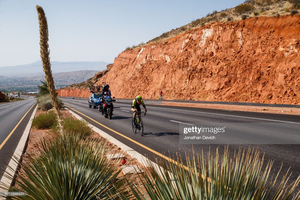 Cameron Meyer of Australia and Team Mitchelton - Scott rides on today's hot prologue climb on August 6, 2018 in St. George, Utah.