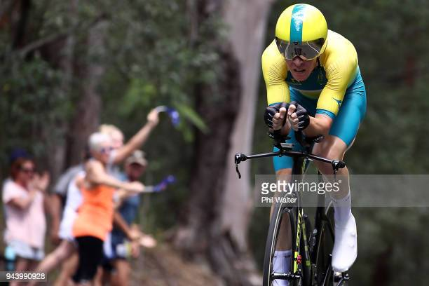 Cameron Meyer of Australia competes during the Cycling Time Trial on day six of the Gold Coast 2018 Commonwealth Games at Currumbin Beachfront on...