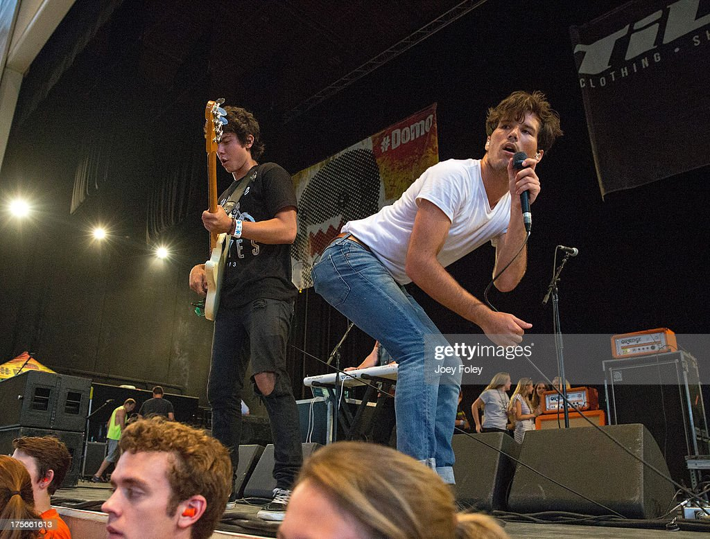 Cameron Michael Quiseng and Zachary David Porter of Allstar Weekend performs onstage during the 2013 Van Warped Tour at Riverbend Music Center on July 30, 2013 in Cincinnati, Ohio.