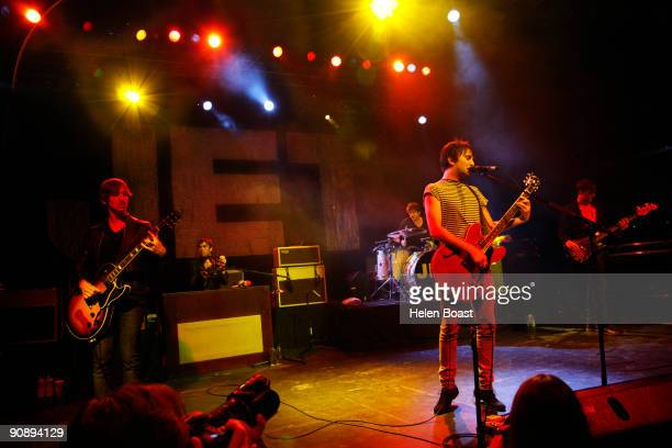 Cameron Muncey Louis Macklin Chris Cester Nic Cester and Mark Wilson of Jet perform on stage at The Forum on September 17 2009 in London England