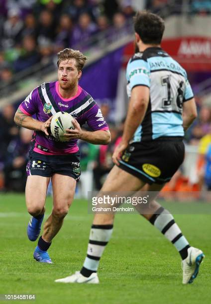 Cameron Munster of the Storm in action during the round 22 NRL match between the Melbourne Storm and the Cronulla Sharks at AAMI Park on August 12...