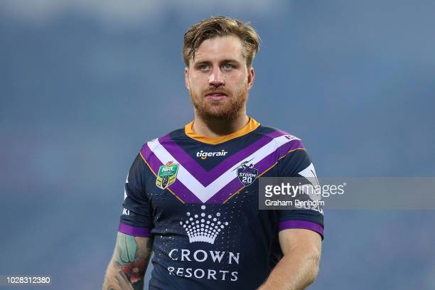 Cameron Munster of the Storm looks on during the NRL Qualifying Final match between the Melbourne Storm and the South Sydney Rabbitohs at AAMI Park...