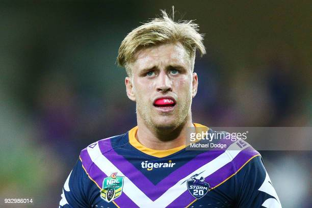 Cameron Munster of the Storm reats after giving away a penalty on Eliah Taylor of the Tigers during the round two NRL match between the Melbourne...