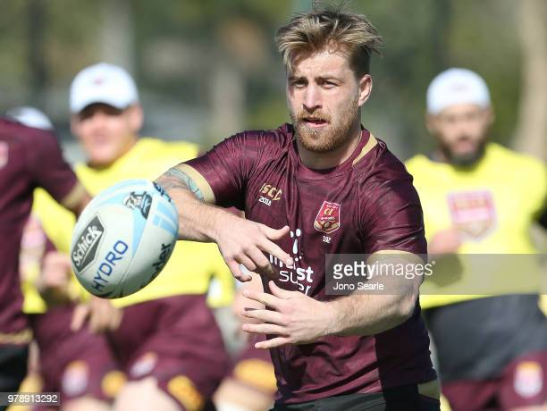 Cameron Munster passes the ball during a Queensland Maroons State of Origin training session at Sanctuary Cove on June 20 2018 in Brisbane Australia