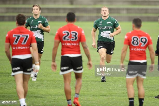 Cameron Murray and George Burgess run during a South Sydney Rabbitohs NRL training session at Redfern Oval on March 21 2017 in Sydney Australia