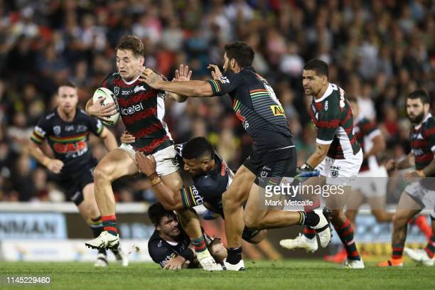 Cameron Murray of the Rabbitohs Is tackled during the round 7 NRL match between the Penrith Panthers and the South Sydney Rabbitohs at Panthers...