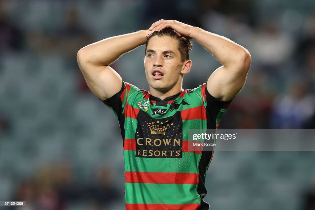 Cameron Murray of the Rabbitohs looks dejected after defeat during the round nine NRL match between the South Sydney Rabbitohs and the Manly Sea Eagles at Allianz Stadium on April 28, 2017 in Sydney, Australia.