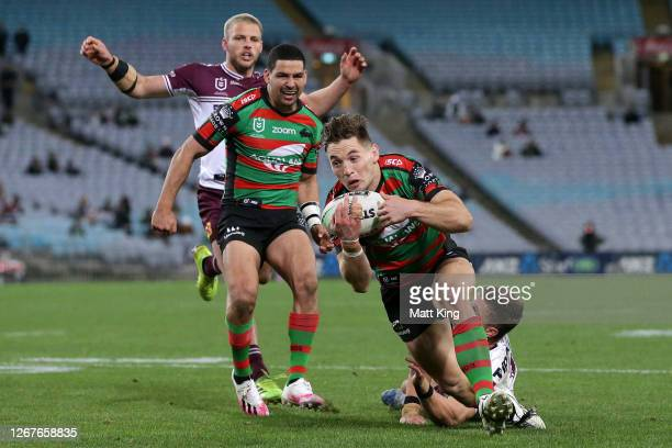 Cameron Murray of the Rabbitohs scores a try during the round 15 NRL match between the South Sydney Rabbitohs and the Manly Sea Eagles at ANZ Stadium...