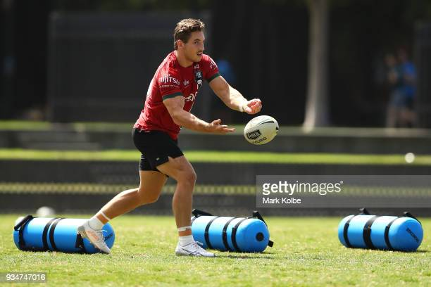 Cameron Murray passes during a South Sydney Rabbitohs NRL Training Session at Redfern Oval on March 20 2018 in Sydney Australia