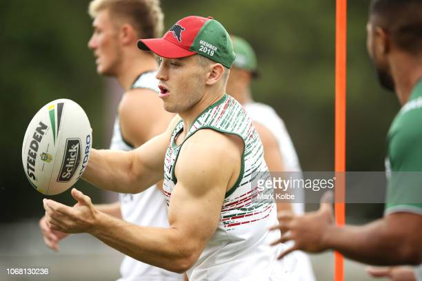 Cameron Murray passes during a Sydney Rabbitohs training session at Redfern Oval at Redfern Oval on December 4 2018 in Sydney Australia