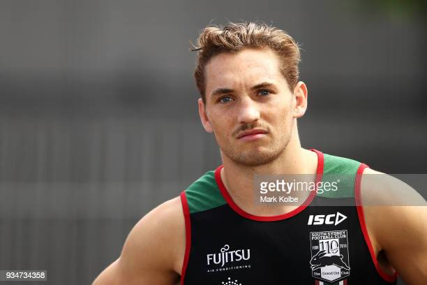 Cameron Murray speaks to the media before a South Sydney Rabbitohs NRL Training Session at Redfern Oval on March 20 2018 in Sydney Australia