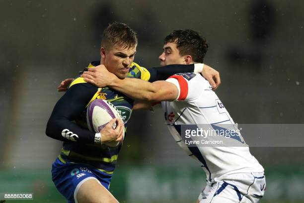 Cameron Neild of Sale Sharks and Gareth Anscombe of Cardiff Blues during The European Rugby Challenge Cup match on December 9 2017 in Salford United...