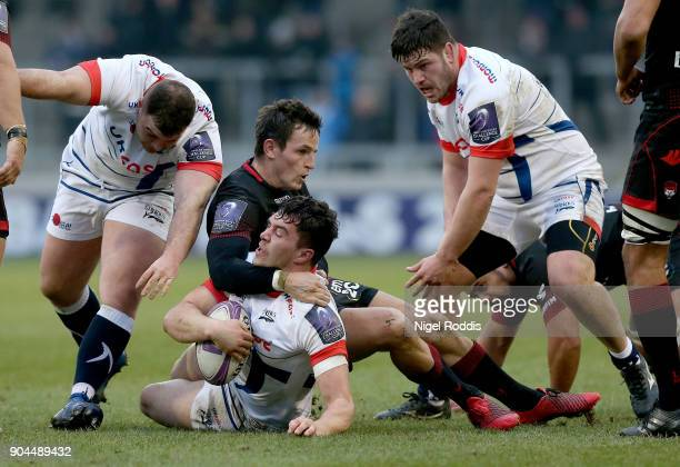 Cameron Neild of Sale Sharks tackled by Mike Harris of Lyon during the European Rugby Challenge Cup match between Sale Sharks and Lyon at the AJB...